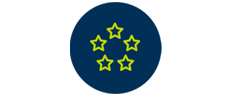 Green icon of five stars on a navy circle background