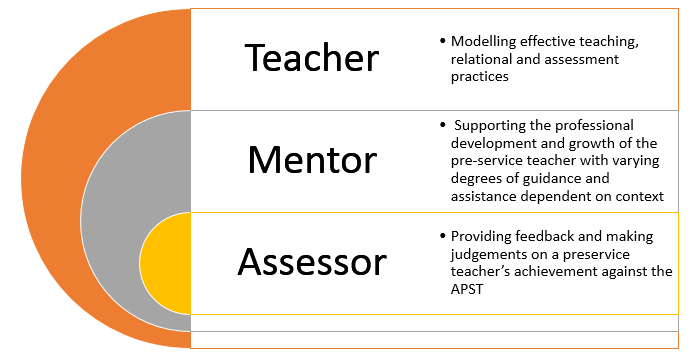 The multi-dimensional role of the supervising teacher diagram