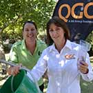 CQUniversity Research Fellow Dr Linda Pfeiffer (left) thanks QGC's Robyn Sotiris for supporting the Science Education Experience.