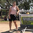 CQUni students Jewel Krautz (left) and Danielle Ruff pictured during a break in competition for the CQUniversity Rockhampton Cup on Wheels.