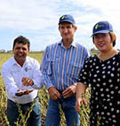 TOP: L-R Dr Surya Bhattarai, farmer Peter Foxwell and Young Beamish from Rockhampton Regional Council. BELOW: Minister for Resources and Northern Australia Matt Canavan (left) and CQUni agriculture rep Michael Thomson chat about the spice research.