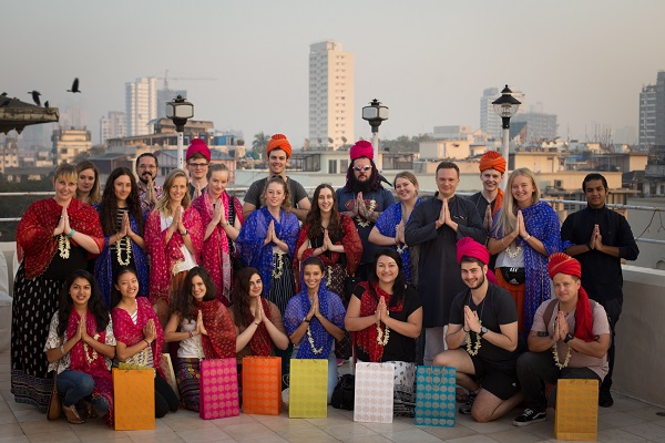 CQUGlobal Outbound students dressed in traditional Indian accessories in India