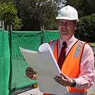 Professor Owen Nevin and Federal MP for Flynn Ken O'Dowd bring local media crews up to date on the construction.