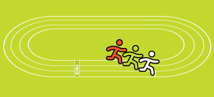 Illustration of three runners running with one ahead of the other on an oval symbolising equity.