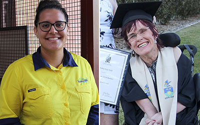 (L-R) Shania Evans and Helena Kidd have won their respective categories at the 2020 Central Queensland Regional Queensland Training Awards.