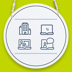 A door sign hanging on a green background with study icons of a university and laptops displayed on it