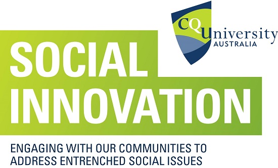 CQUniversity Social Innovation logo, text reads Social Innovation: Engaging with our communities to address entrenched social issues