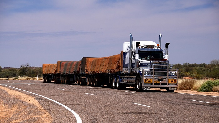 Road train on country highway