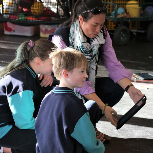 Children learning about farming