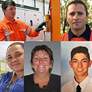 CQUni students (clockwise from left) Richard O'Brien, Toby Greenbury, Brenton Tomlinson, Selena Buckley and Kaddie Chilly, are finalists in the Central Queensland Regional Queensland Training Awards.