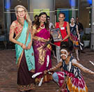 Associate Professor Henrietta Marrie AM, Director of CQuniversity's First Peoples Think Tank, is pictured CENTRE, beside Cairns Mayor Bob Manning, among female innovators from India and key business women from the Cairns region Indigenous community.