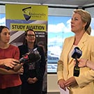 TOP: Deputy Leader of the Opposition, Tanya Plibersek announces commitment of $9.9 million to fully fund Stage 2 of the Asia Pacific Aviation Hub. BELOW: Vice-Chancellor Professor Nick Klomp welcomes the funding commitment.